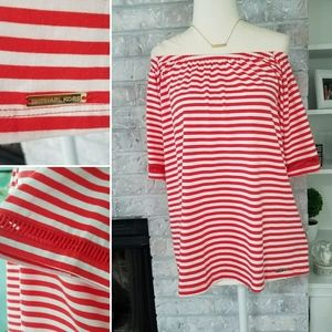 New Michael Kors off shoulder stripe top